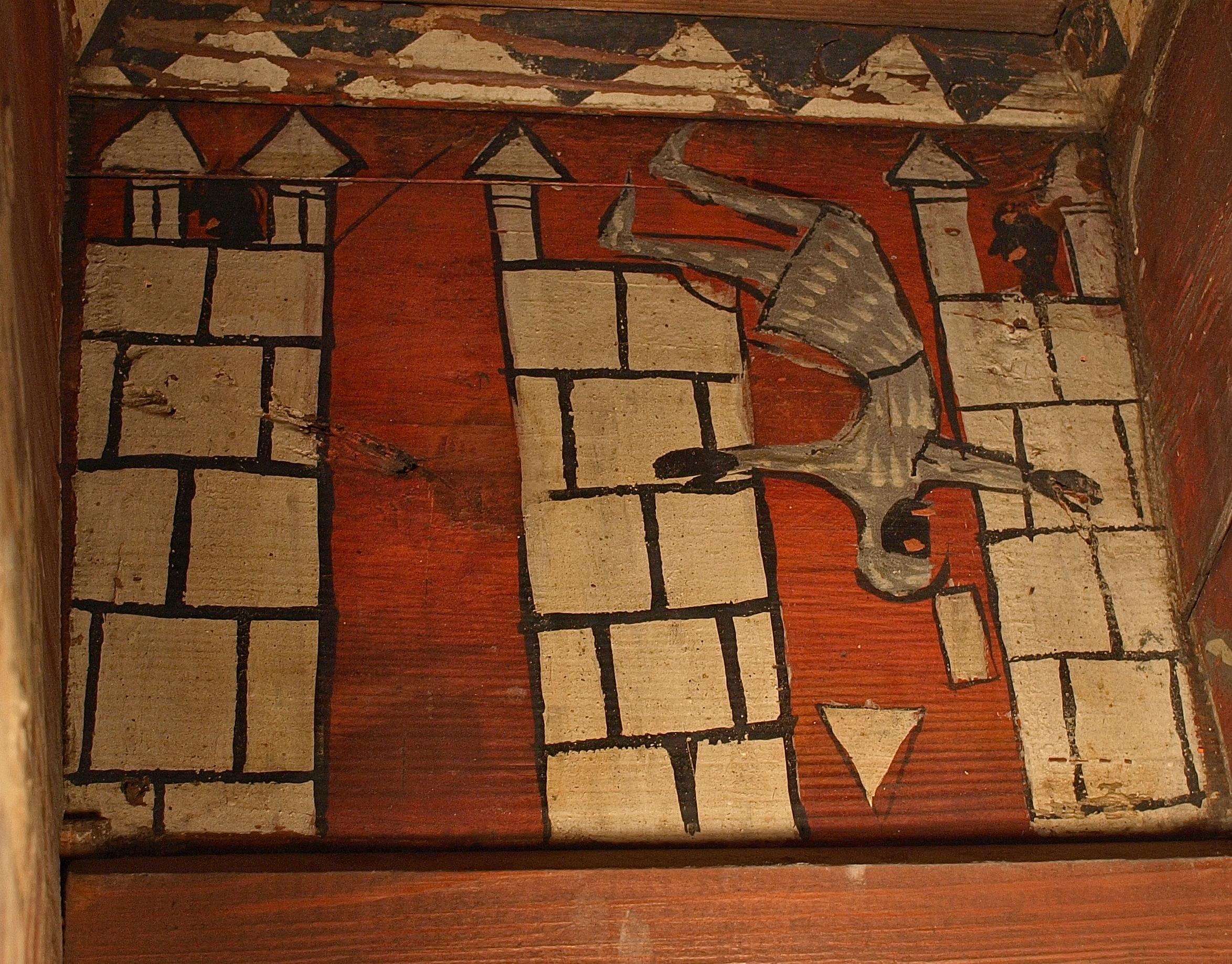 Détail : chevalier tombant d'une muraille
