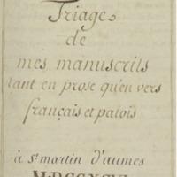 triage de mes manuscrits tant en prose qu\'en vers français.bmp
